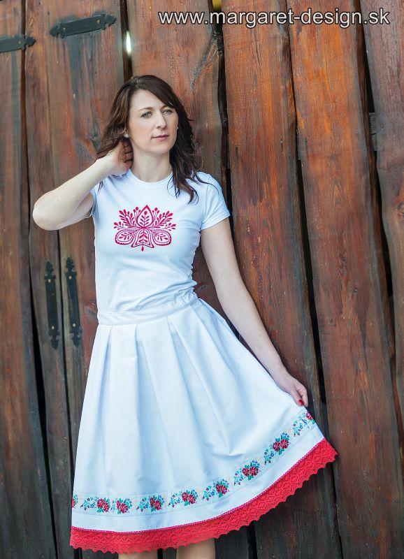 4733f95c5ca7 Biela sukňa so širokou krojovou stuhou – Margaret-Design